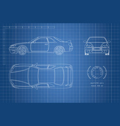 drawing of the car on a blue background vector image