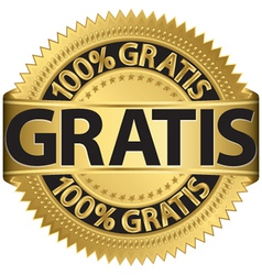 Gratis gold label vector image