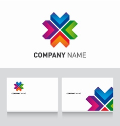 Logo colored and business card template vector image vector image
