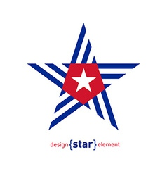 Abstract design element star with Cuba flag vector image