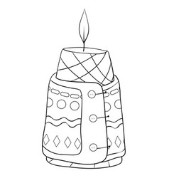 Adult coloring bookpage a christmas candle vector