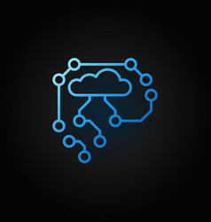 Ai cyberbrain blue outline icon - thin line vector
