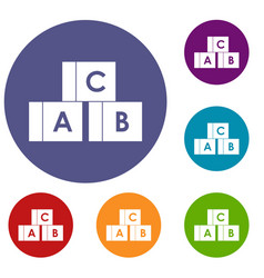 Alphabet cubes with letters abc icons set vector