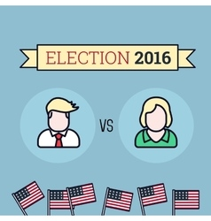 American election 2016 Two candidates Flat style vector