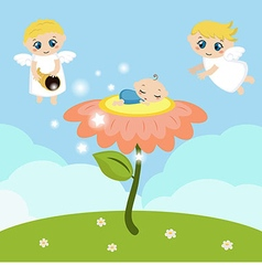 Angels with stars and baby sleeping on the flower vector