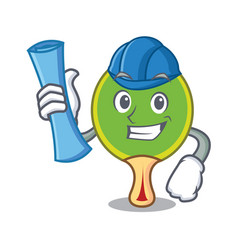 Architect ping pong racket character cartoon vector