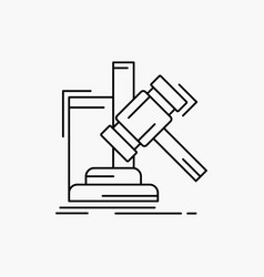 auction gavel hammer judgement law line icon vector image