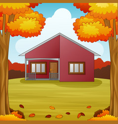 Autumn season background with red house and fall l vector