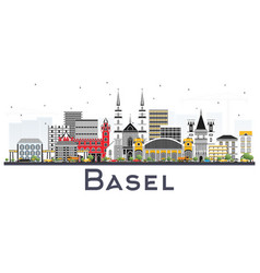 basel switzerland city skyline with color vector image