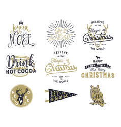 Big merry christmas typography quotes wishes vector