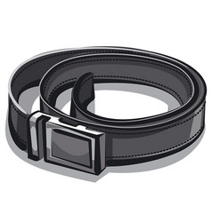 Black leather belt vector
