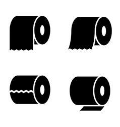 Black toilet paper icons set vector