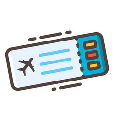 boarding pass line color icon vector image