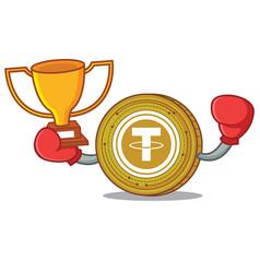 Boxing winner tether coin mascot cartoon vector