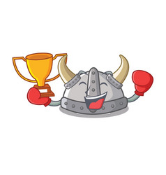Boxing winner viking helmet in a cartoon vector