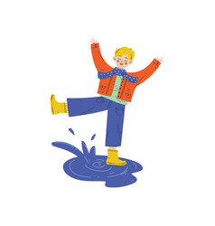 boy playing in puddle kids spring or summer vector image