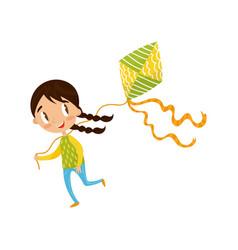 brunette little girl playing kite cute cartoon vector image