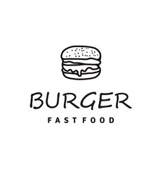 burger logo design with hipster line art drawing vector image