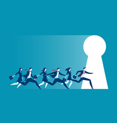 Businesspeople running to large keyhole vector