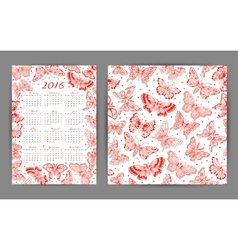 Calendar 2016 year and seamless pattern with vector image