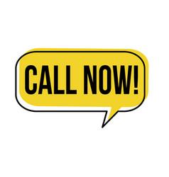 call now speech bubble vector image