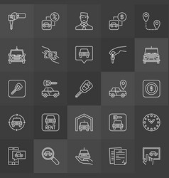 Car rental icons collection vector