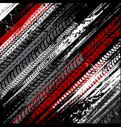 car tires dirty traces grunge background vector image
