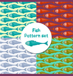cartoon colorful fish seamless pattern vector image