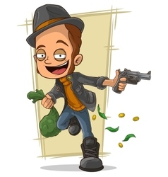 Cartoon cool robber with gun and money vector