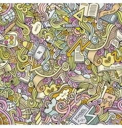 Cartoon doodles school seamless pattern vector image