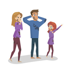 cartoon family grieved by fire vector image