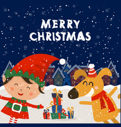 cartoon for holiday theme with elf and dog on vector image