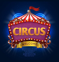 circus carnival sign with light bulb frame vector image