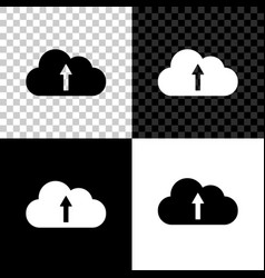 cloud upload icon isolated on black white and vector image