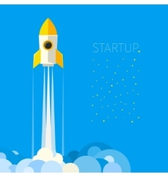 Concept of start up rocket in sky vector image