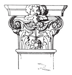 Corinthian pilaster capital decorated vintage vector