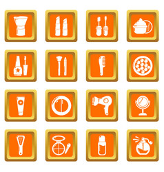 Cosmetics icons set orange square vector