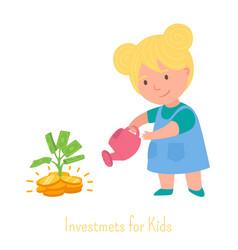 cute blond little girl watering money tree vector image