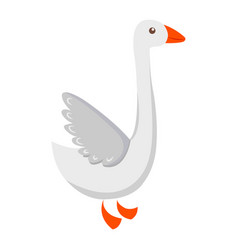 cute goose cartoon flat sticker or icon vector image