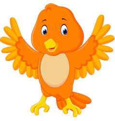cute orange bird cartoon vector image