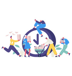 deadline office concept business people rushing vector image