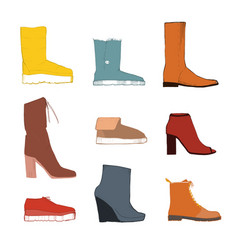 different colorful shoes isolated vector image