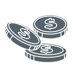 Dollar coins financial profit and economic benefit vector