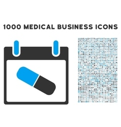 Drugs Pill Calendar Day Icon With 1000 Medical vector