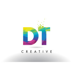 Dt d t colorful letter origami triangles design vector