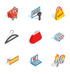 Electronic commerce icons isometric 3d style vector