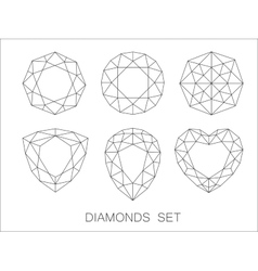 Elegant thin line diamonds icons logo set vector image