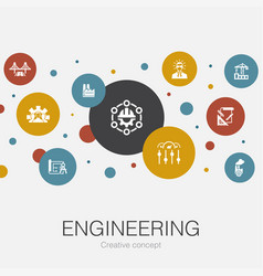 Engineering trendy circle template with simple vector