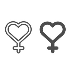female gender line and glyph icon heart shaped vector image