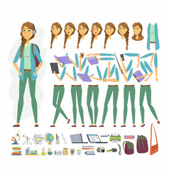Female student - cartoon people character vector